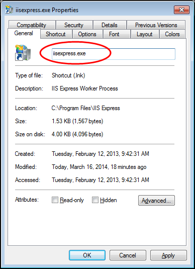 Screenshot of the iisexpress.exe.lnk settings