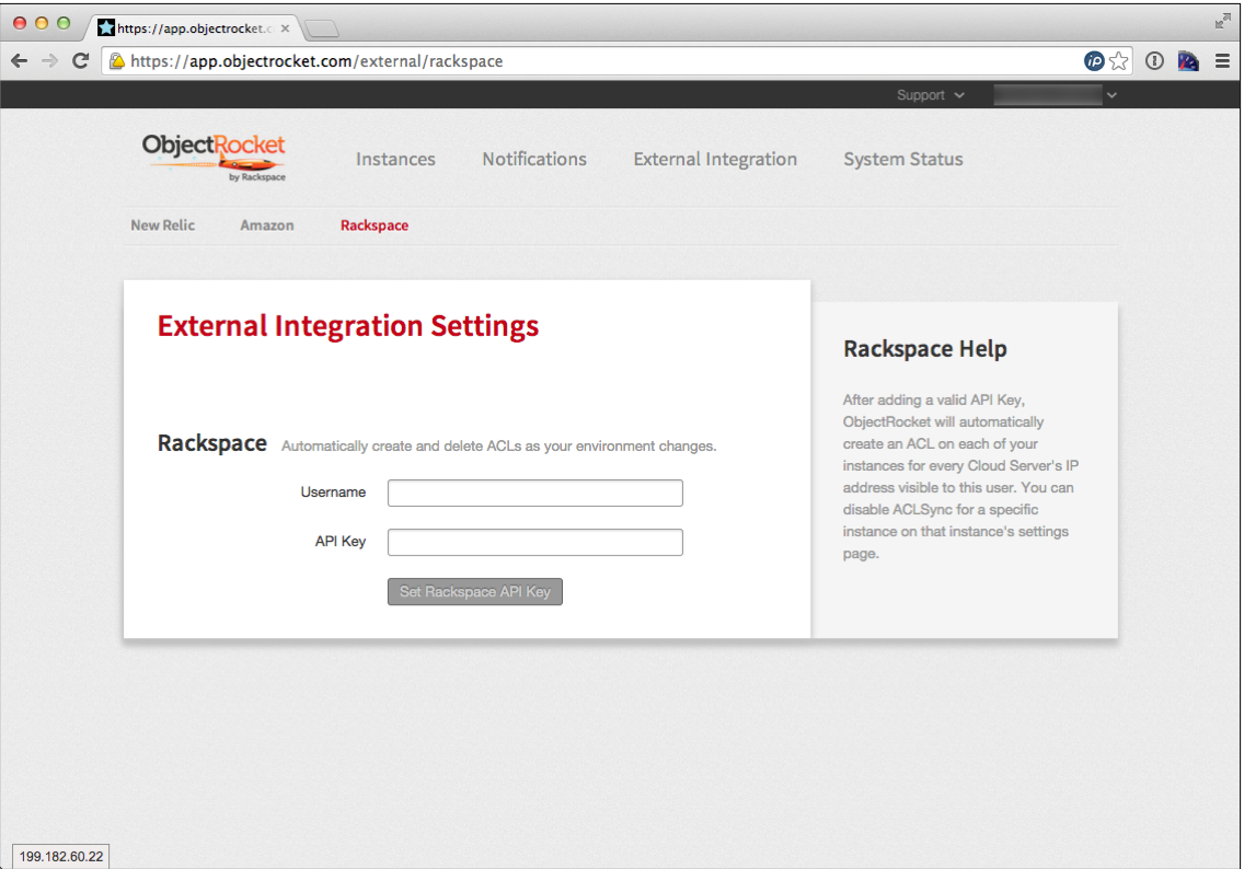 Screenshot of ObjectRocket integration with Rackspace