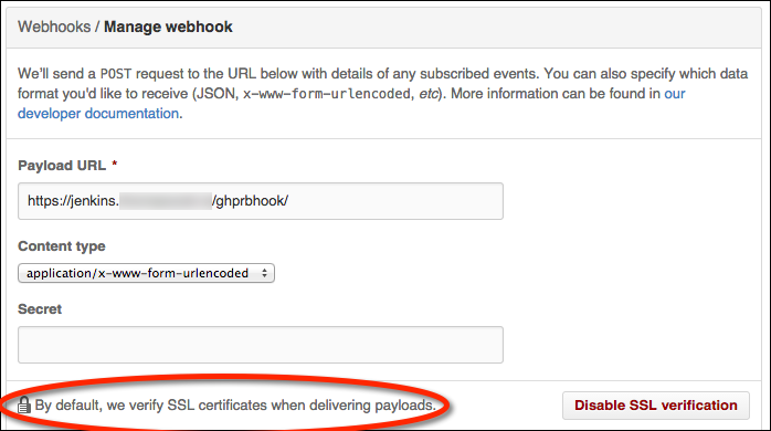 Screenshot of a failed certificate validation in a GitHub WebHook configuratioon screen