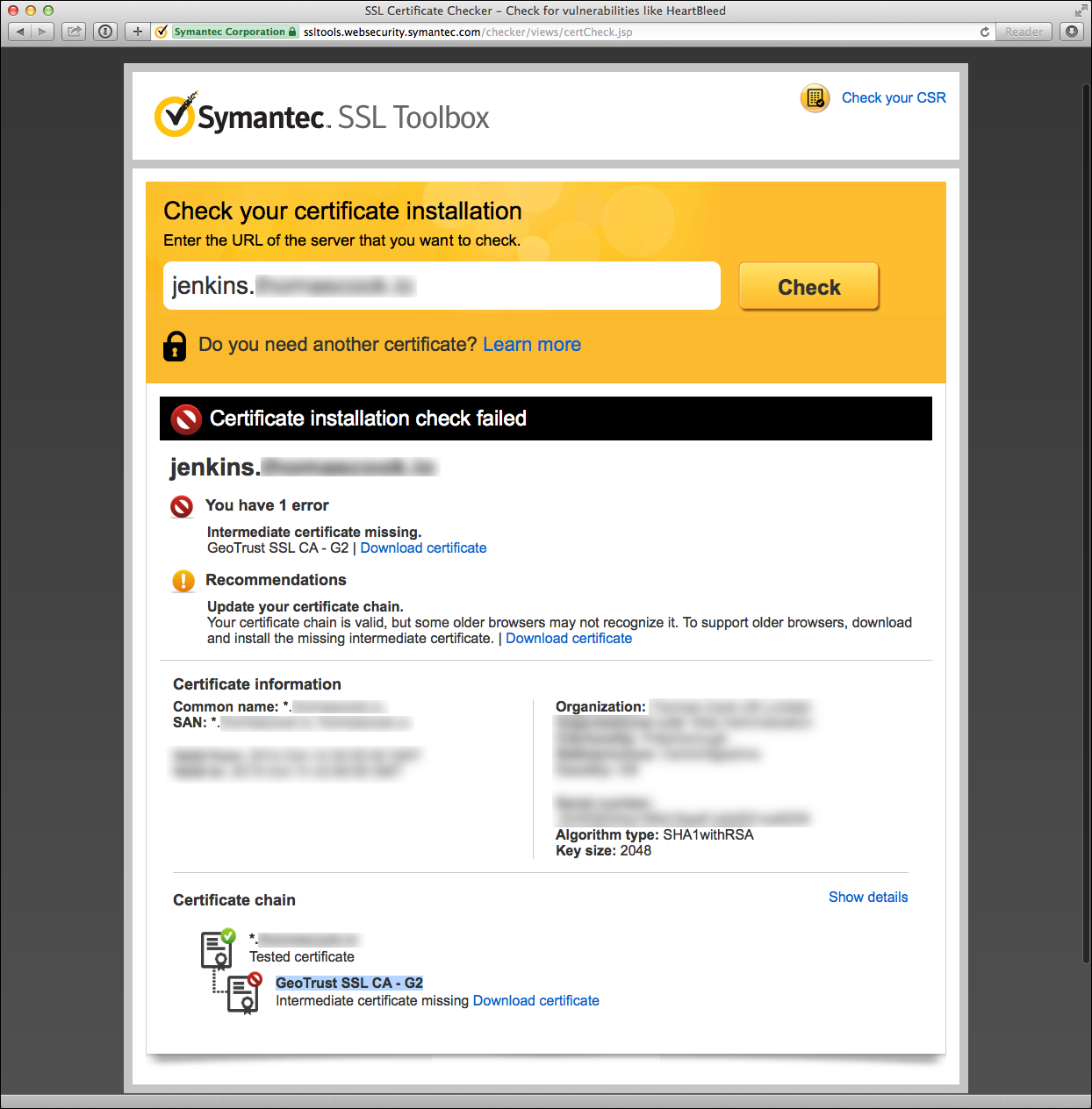 Screenshot of a failed certificate validation in the Symantec SSL Toolbox