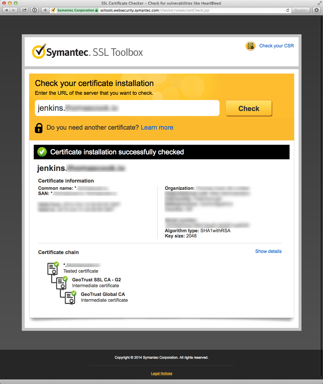 Screenshot of a succesful certificate validation in the Symantec SSL Toolbox